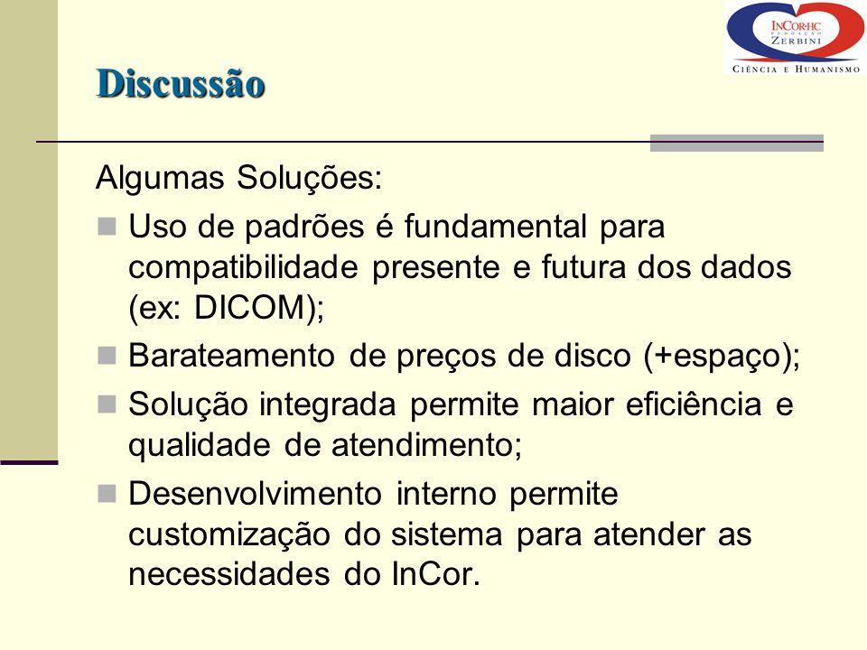 Algumas Soluções: Uso de padrões é fundamental para compatibilidade presente e futura dos dados (ex: DICOM); Barateamento de preços de disco (+espaço)