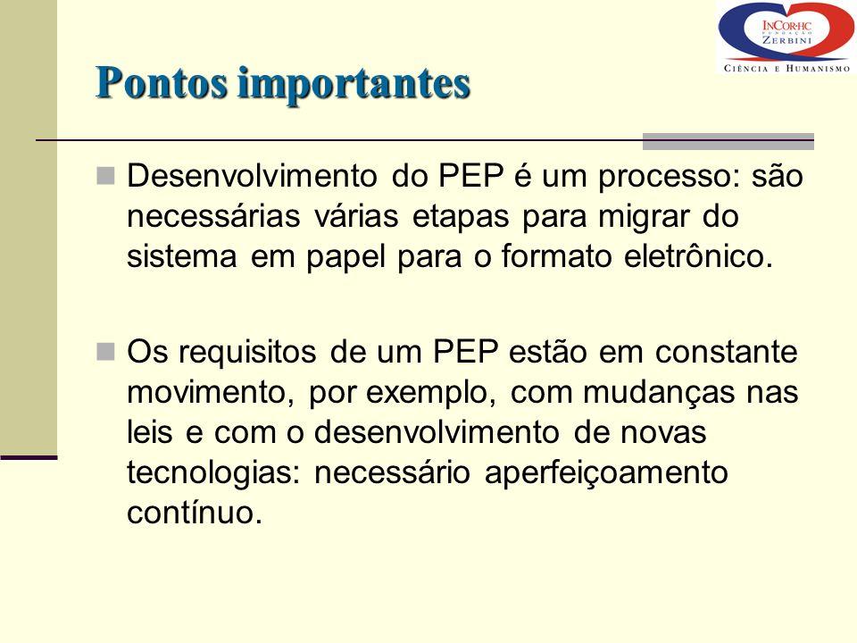 Pontos importantes Desenvolvimento do PEP é um processo: são necessárias várias etapas para migrar do sistema em papel para o formato eletrônico. Os r