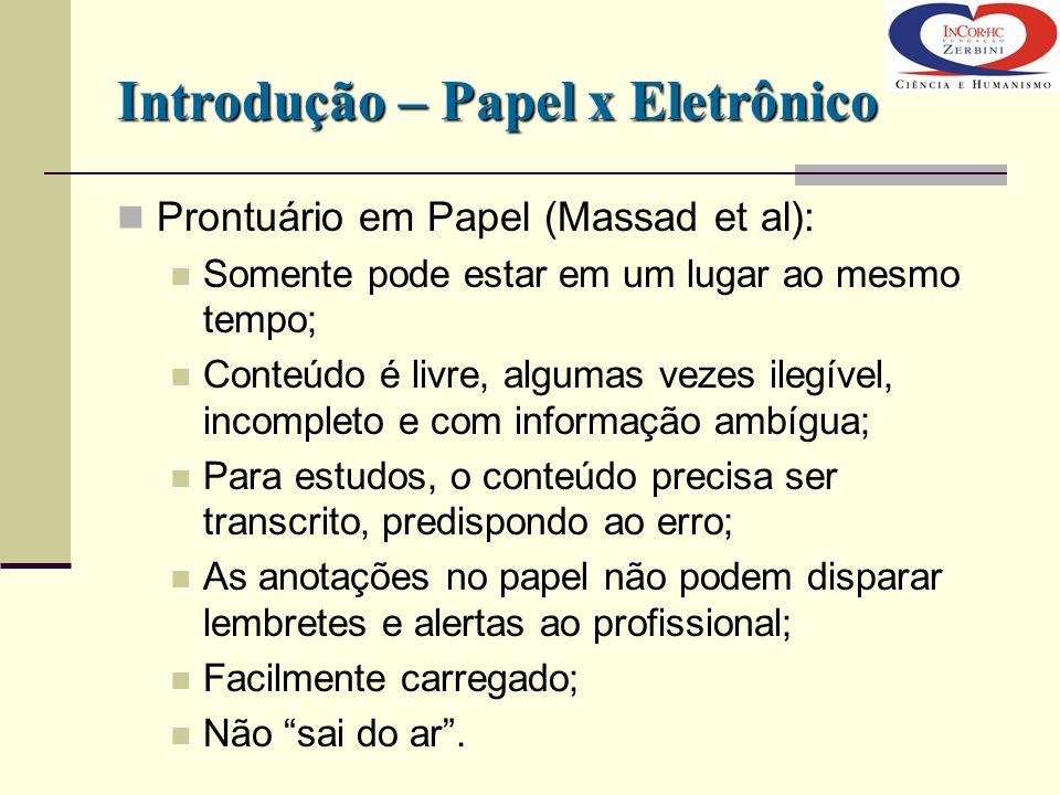 Introdução – Papel x Eletrônico Prontuário em Papel (Massad et al): Somente pode estar em um lugar ao mesmo tempo; Conteúdo é livre, algumas vezes ile