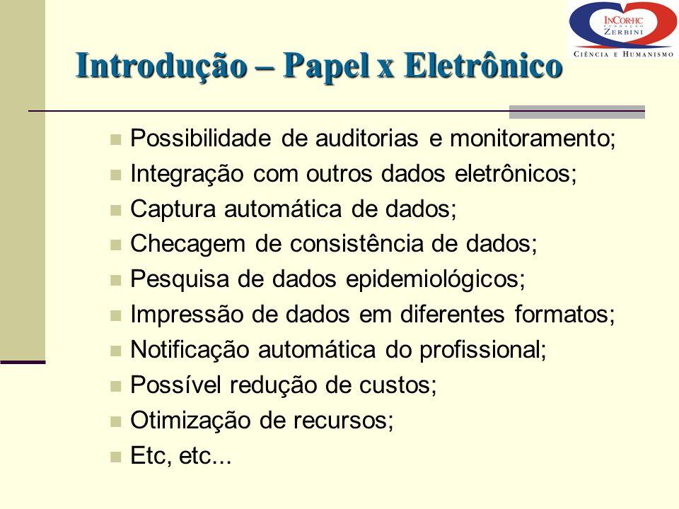 Introdução – Papel x Eletrônico Possibilidade de auditorias e monitoramento; Integração com outros dados eletrônicos; Captura automática de dados; Che