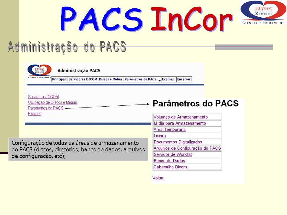 Configuração de todas as áreas de armazenamento do PACS (discos, diretórios, banco de dados, arquivos de configuração, etc);