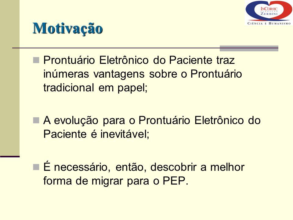 Motivação Prontuário Eletrônico do Paciente traz inúmeras vantagens sobre o Prontuário tradicional em papel; A evolução para o Prontuário Eletrônico d