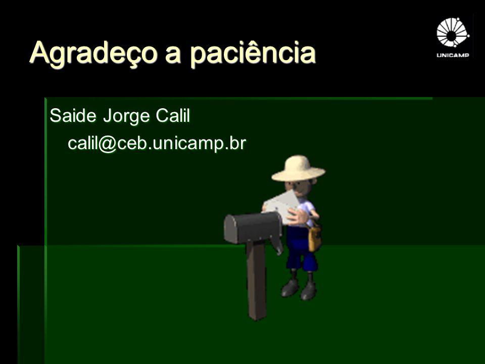 Agradeço a paciência Saide Jorge Calil calil@ceb.unicamp.br