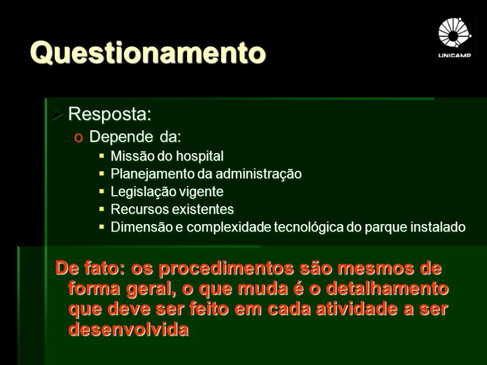 Questionamento Resposta: Resposta: oDepende da: Missão do hospital Missão do hospital Planejamento da administração Planejamento da administração Legi