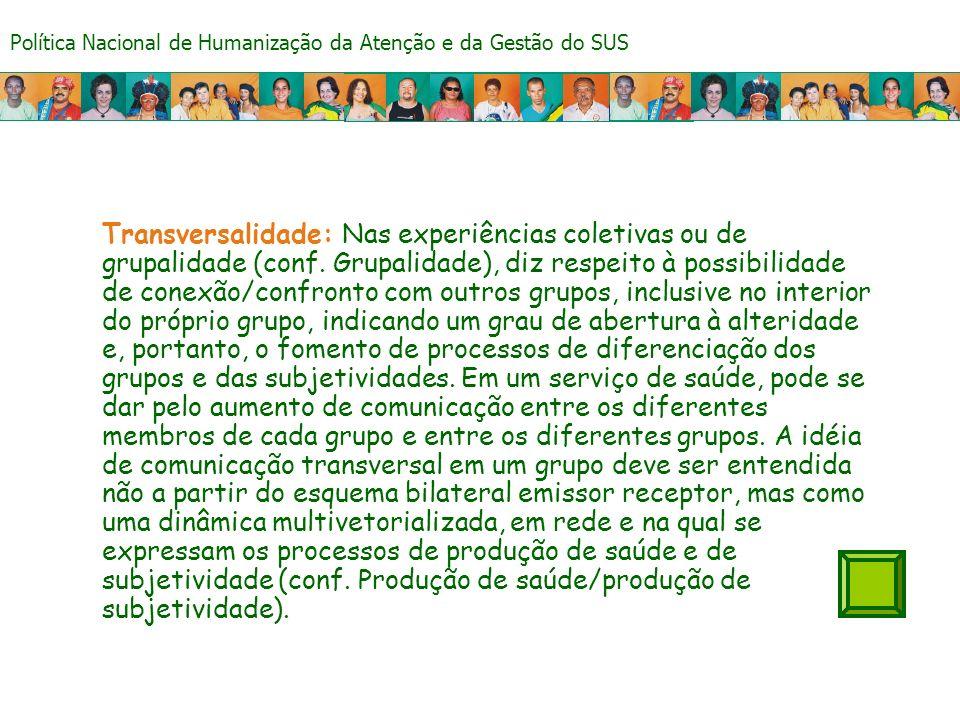 Política Nacional de Humanização da Atenção e da Gestão do SUS Transversalidade: Nas experiências coletivas ou de grupalidade (conf.