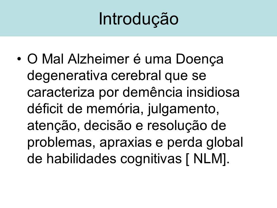 Introdução O Mal Alzheimer é uma Doença degenerativa cerebral que se caracteriza por demência insidiosa déficit de memória, julgamento, atenção, decis