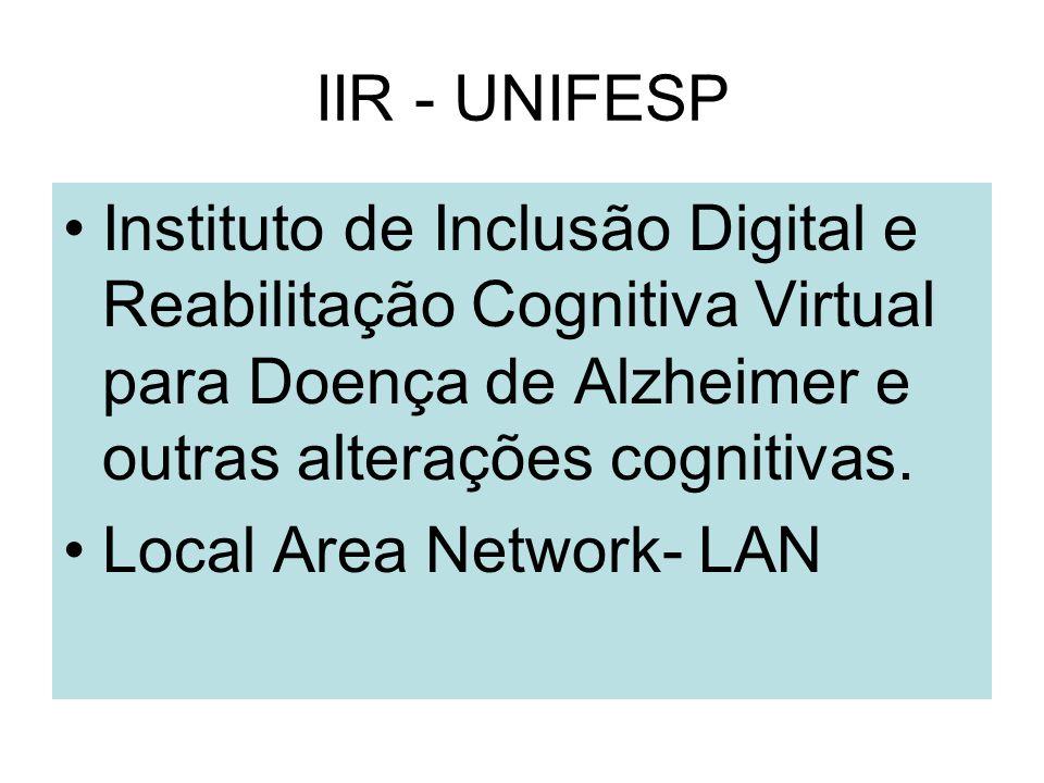 IIR - UNIFESP Instituto de Inclusão Digital e Reabilitação Cognitiva Virtual para Doença de Alzheimer e outras alterações cognitivas. Local Area Netwo