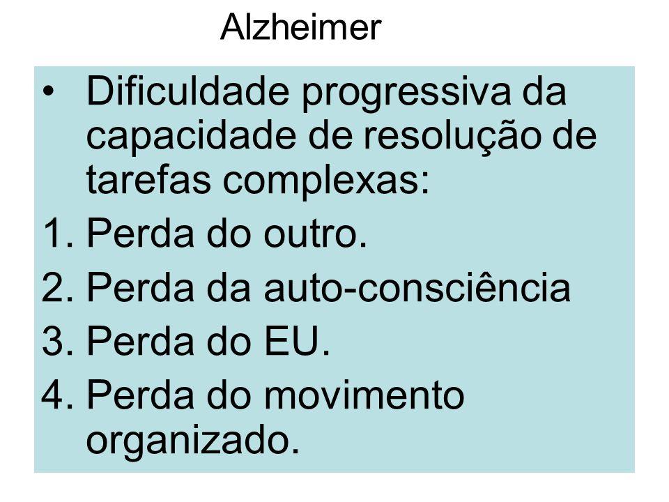 Alzheimer Dificuldade progressiva da capacidade de resolução de tarefas complexas: 1.Perda do outro. 2.Perda da auto-consciência 3.Perda do EU. 4.Perd