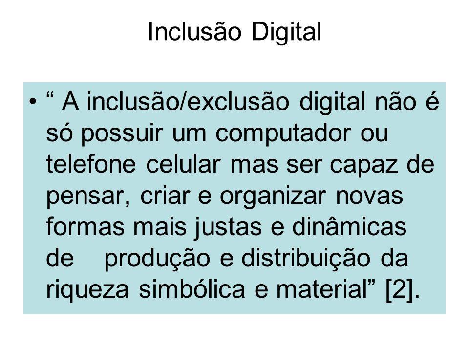 Inclusão Digital A inclusão/exclusão digital não é só possuir um computador ou telefone celular mas ser capaz de pensar, criar e organizar novas forma