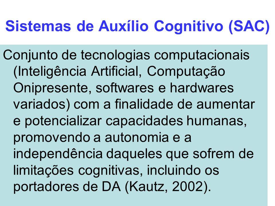 Sistemas de Auxílio Cognitivo (SAC) Conjunto de tecnologias computacionais (Inteligência Artificial, Computação Onipresente, softwares e hardwares var