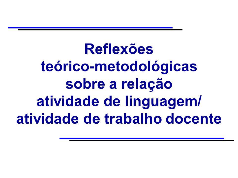 Reflexões teórico-metodológicas sobre a relação atividade de linguagem/ atividade de trabalho docente