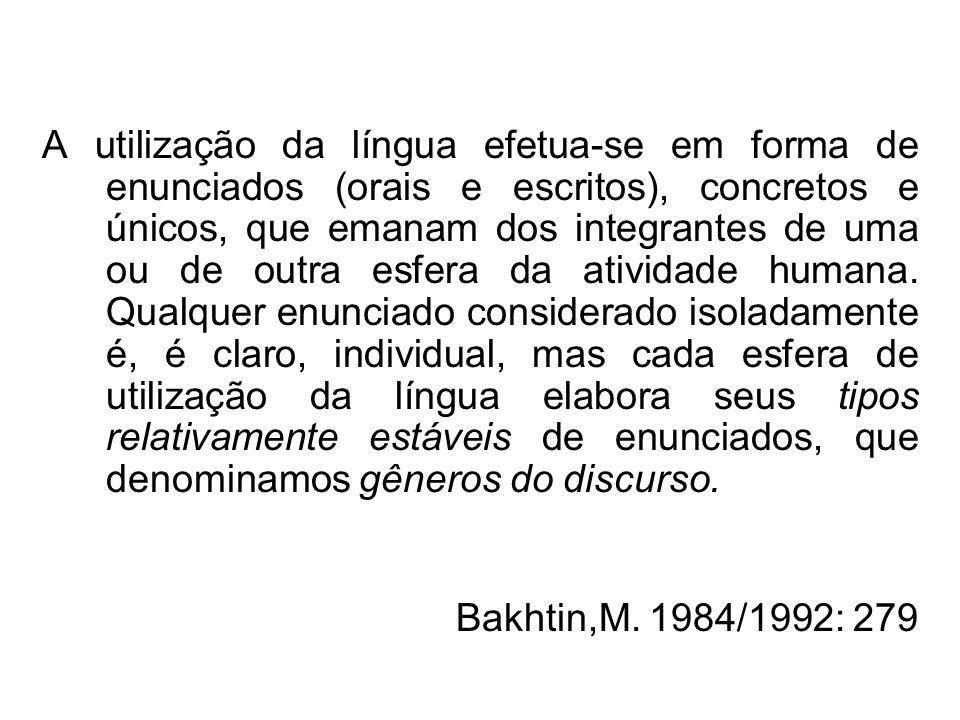 A utilização da língua efetua-se em forma de enunciados (orais e escritos), concretos e únicos, que emanam dos integrantes de uma ou de outra esfera d