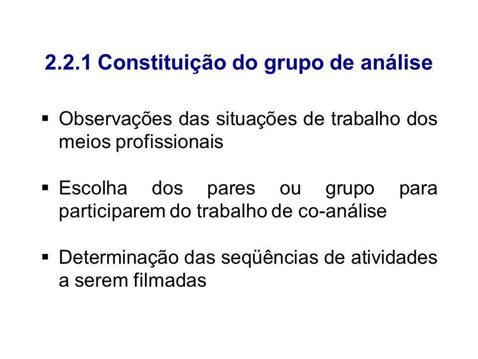 2.2.1 Constituição do grupo de análise Observações das situações de trabalho dos meios profissionais Escolha dos pares ou grupo para participarem do t