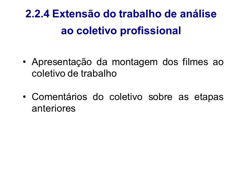 2.2.4 Extensão do trabalho de análise ao coletivo profissional Apresentação da montagem dos filmes ao coletivo de trabalho Comentários do coletivo sob