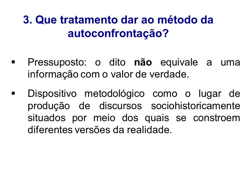 3. Que tratamento dar ao método da autoconfrontação? Pressuposto: o dito não equivale a uma informação com o valor de verdade. Dispositivo metodológic
