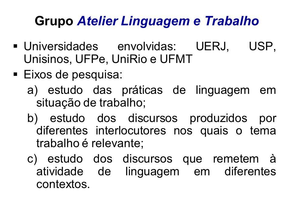 Grupo Atelier Linguagem e Trabalho Universidades envolvidas: UERJ, USP, Unisinos, UFPe, UniRio e UFMT Eixos de pesquisa: a) estudo das práticas de lin