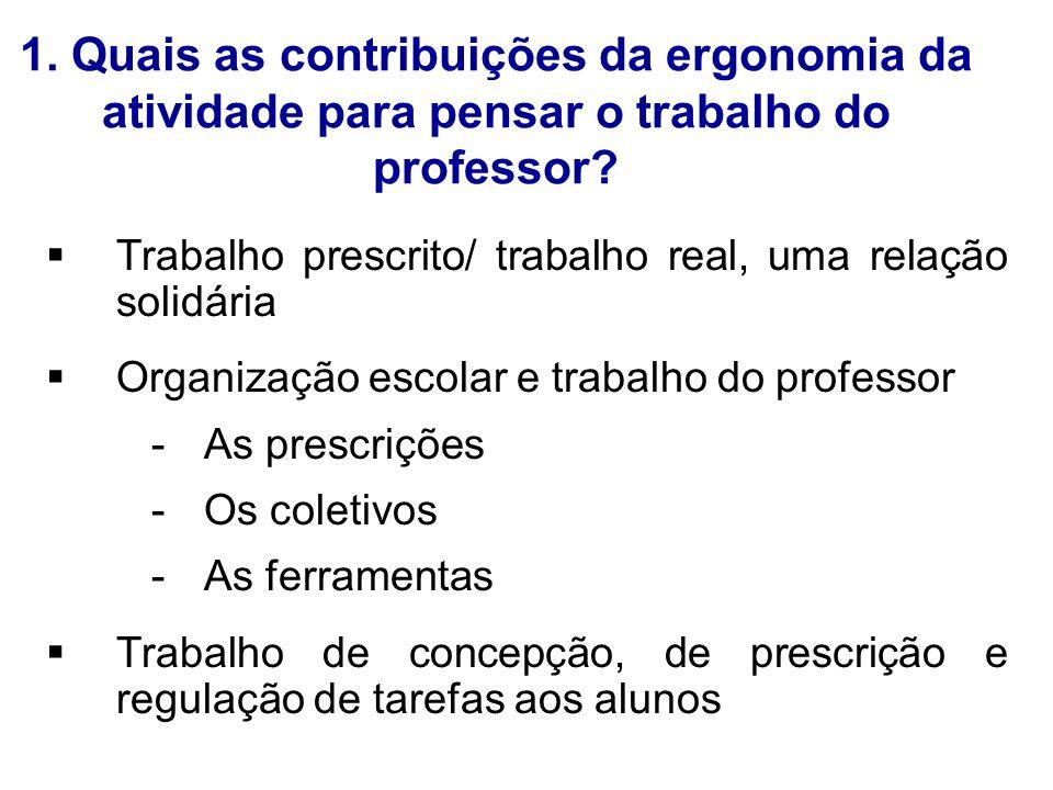 1. Quais as contribuições da ergonomia da atividade para pensar o trabalho do professor? Trabalho prescrito/ trabalho real, uma relação solidária Orga