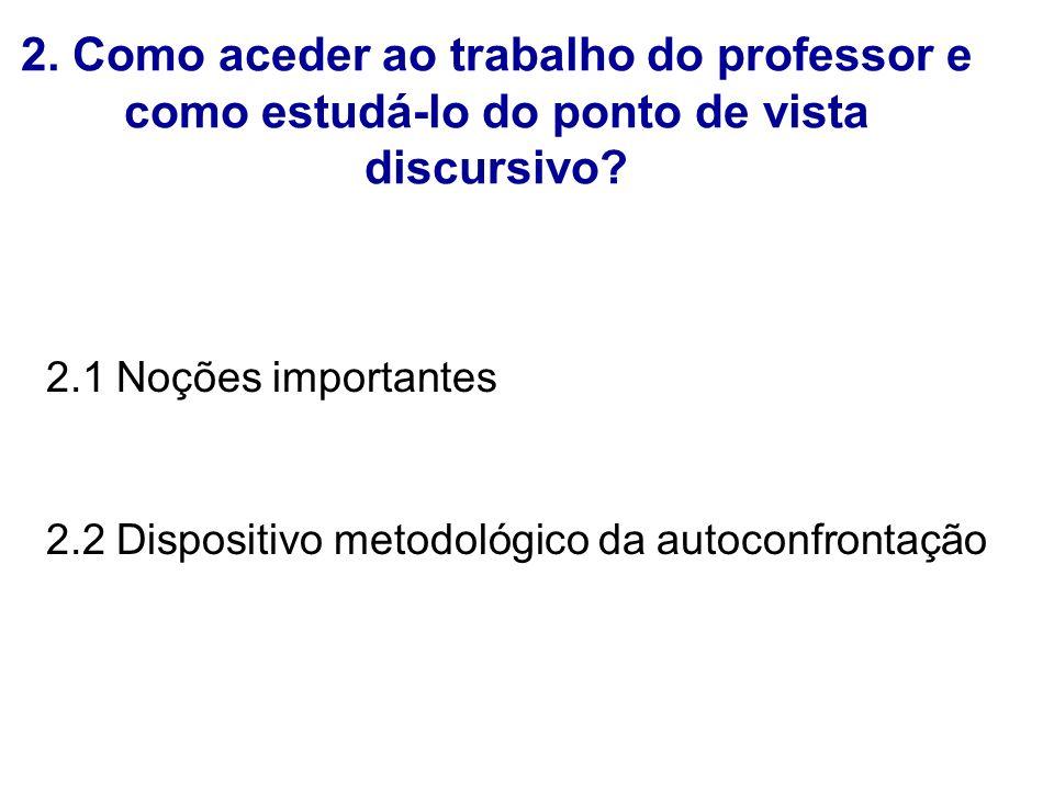 2. Como aceder ao trabalho do professor e como estudá-lo do ponto de vista discursivo? 2.1 Noções importantes 2.2 Dispositivo metodológico da autoconf
