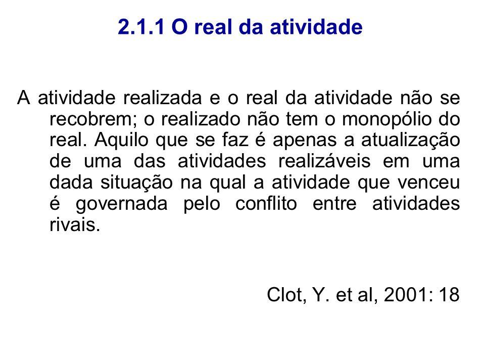 2.1.1 O real da atividade A atividade realizada e o real da atividade não se recobrem; o realizado não tem o monopólio do real. Aquilo que se faz é ap