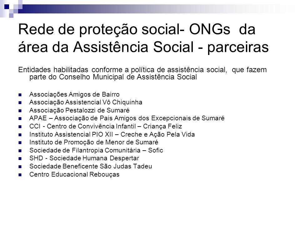 Rede de proteção social- ONGs da área da Assistência Social - parceiras Entidades habilitadas conforme a política de assistência social, que fazem par