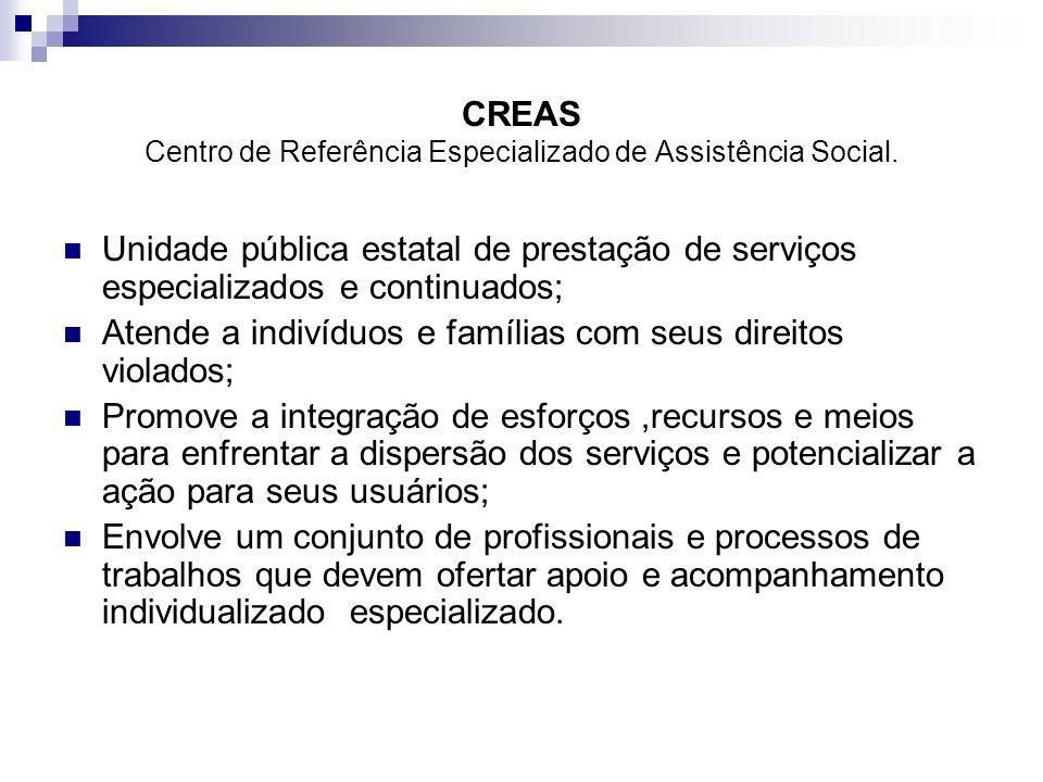 CREAS Centro de Referência Especializado de Assistência Social. Unidade pública estatal de prestação de serviços especializados e continuados; Atende
