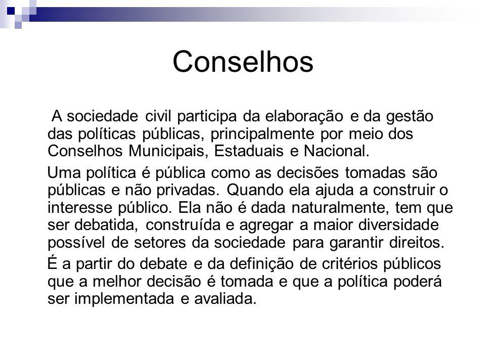 Conselhos A sociedade civil participa da elaboração e da gestão das políticas públicas, principalmente por meio dos Conselhos Municipais, Estaduais e