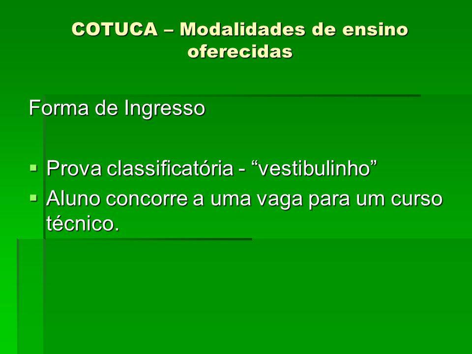 COTUCA – Modalidades de ensino oferecidas Forma de Ingresso Prova classificatória - vestibulinho Prova classificatória - vestibulinho Aluno concorre a
