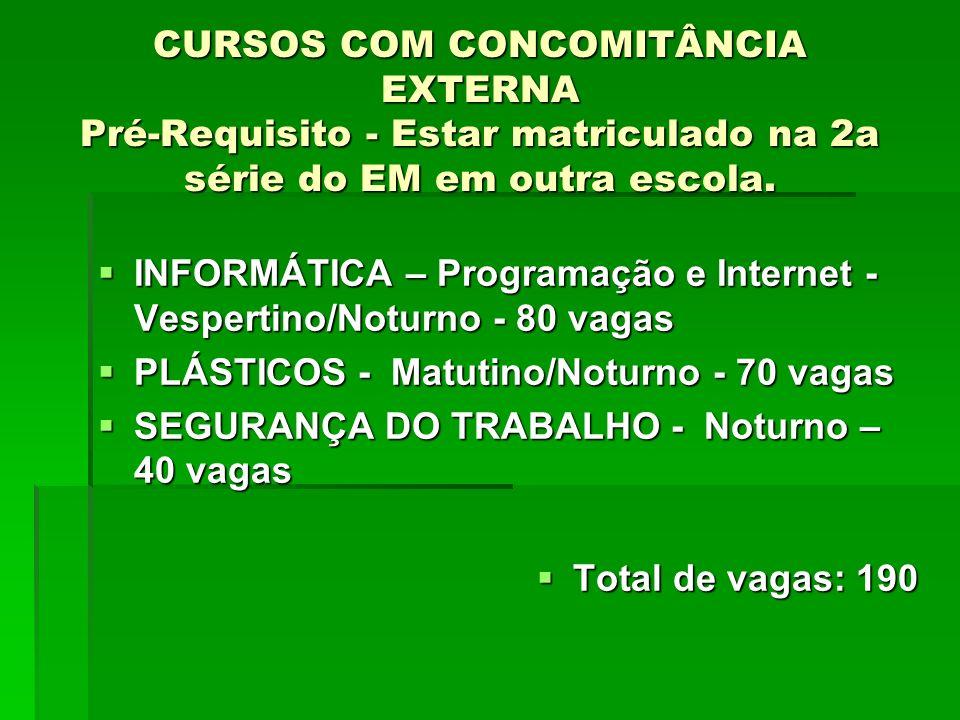 CURSOS COM CONCOMITÂNCIA EXTERNA Pré-Requisito - Estar matriculado na 2a série do EM em outra escola.