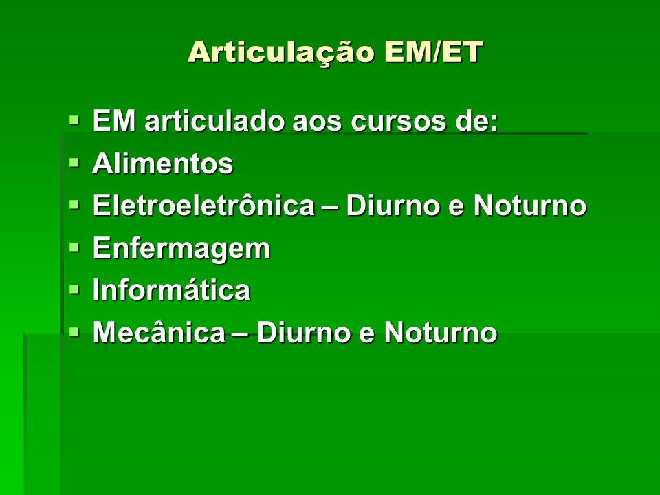 Articulação EM/ET EM articulado aos cursos de: EM articulado aos cursos de: Alimentos Alimentos Eletroeletrônica – Diurno e Noturno Eletroeletrônica –