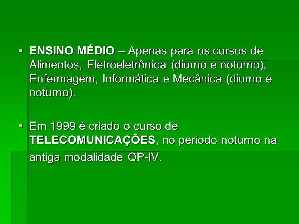 ENSINO MÉDIO – Apenas para os cursos de Alimentos, Eletroeletrônica (diurno e noturno), Enfermagem, Informática e Mecânica (diurno e noturno).
