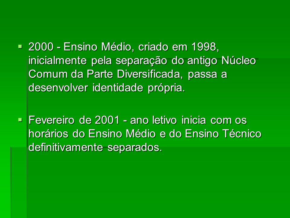 2000 - Ensino Médio, criado em 1998, inicialmente pela separação do antigo Núcleo Comum da Parte Diversificada, passa a desenvolver identidade própria