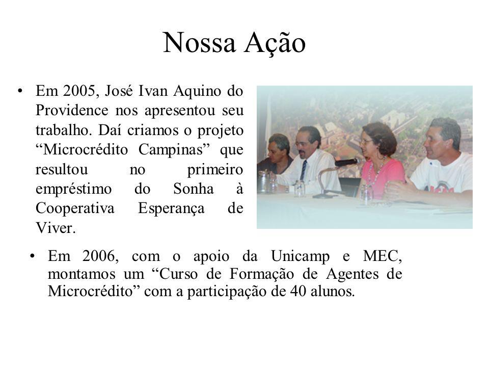 Em 2005, José Ivan Aquino do Providence nos apresentou seu trabalho. Daí criamos o projeto Microcrédito Campinas que resultou no primeiro empréstimo d