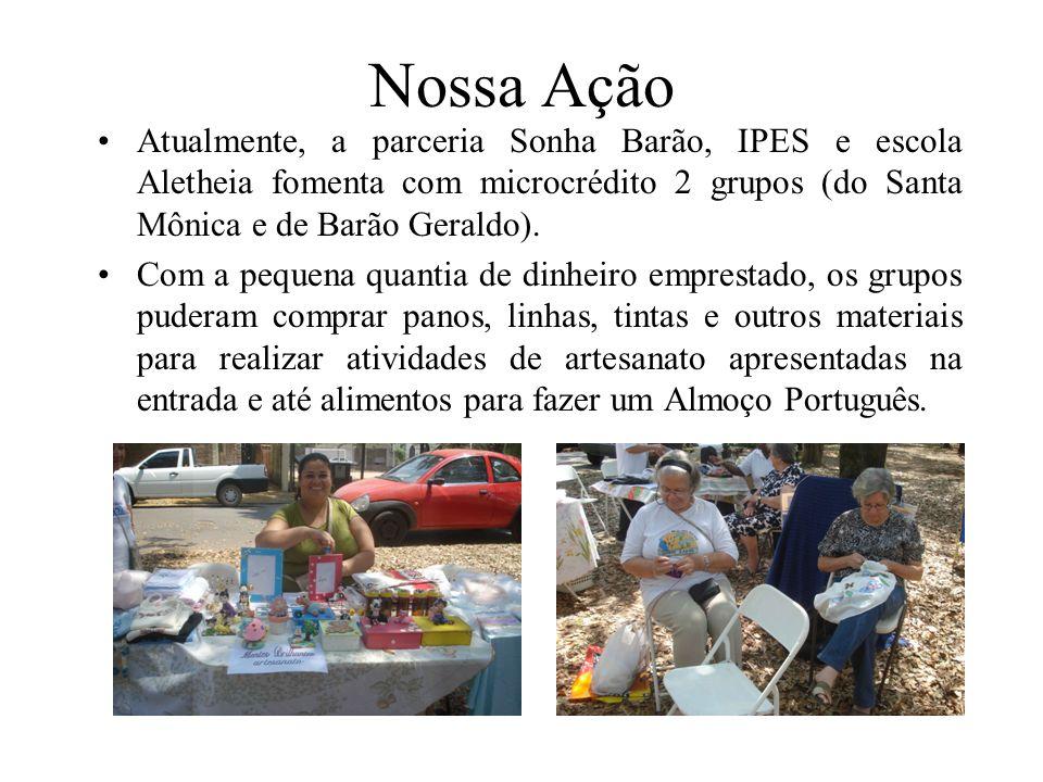 Nossa Ação Atualmente, a parceria Sonha Barão, IPES e escola Aletheia fomenta com microcrédito 2 grupos (do Santa Mônica e de Barão Geraldo). Com a pe