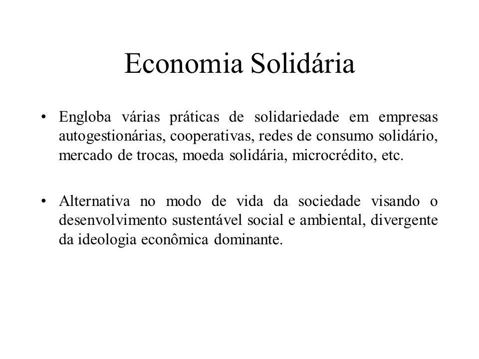 Economia Solidária Engloba várias práticas de solidariedade em empresas autogestionárias, cooperativas, redes de consumo solidário, mercado de trocas,