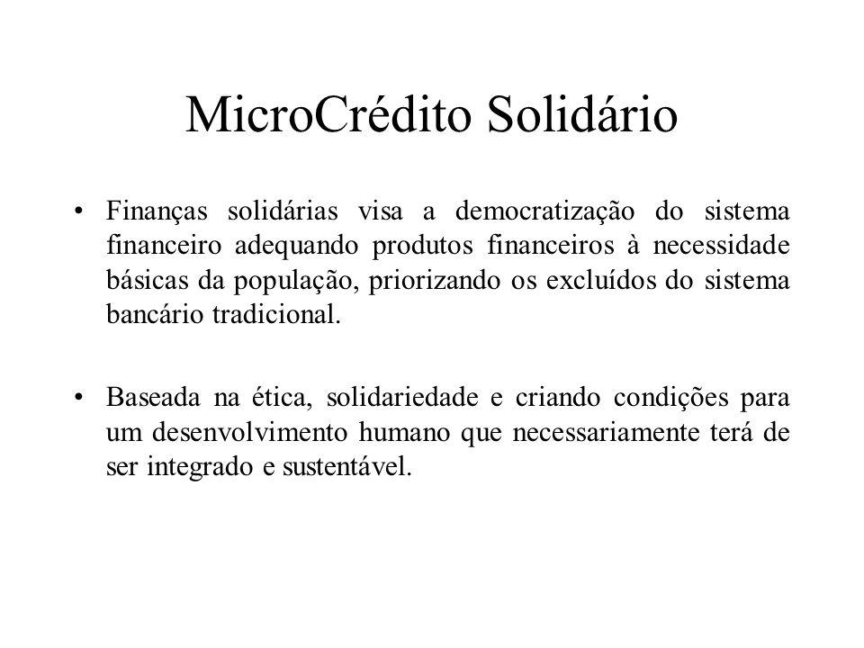 MicroCrédito Solidário Finanças solidárias visa a democratização do sistema financeiro adequando produtos financeiros à necessidade básicas da populaç