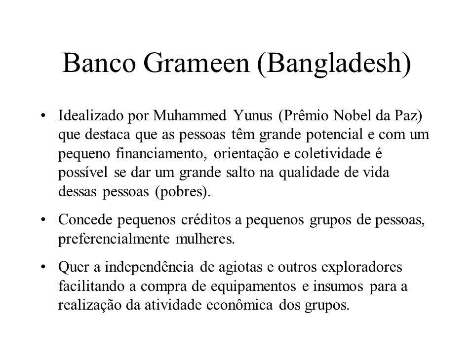 Banco Grameen (Bangladesh) Idealizado por Muhammed Yunus (Prêmio Nobel da Paz) que destaca que as pessoas têm grande potencial e com um pequeno financ