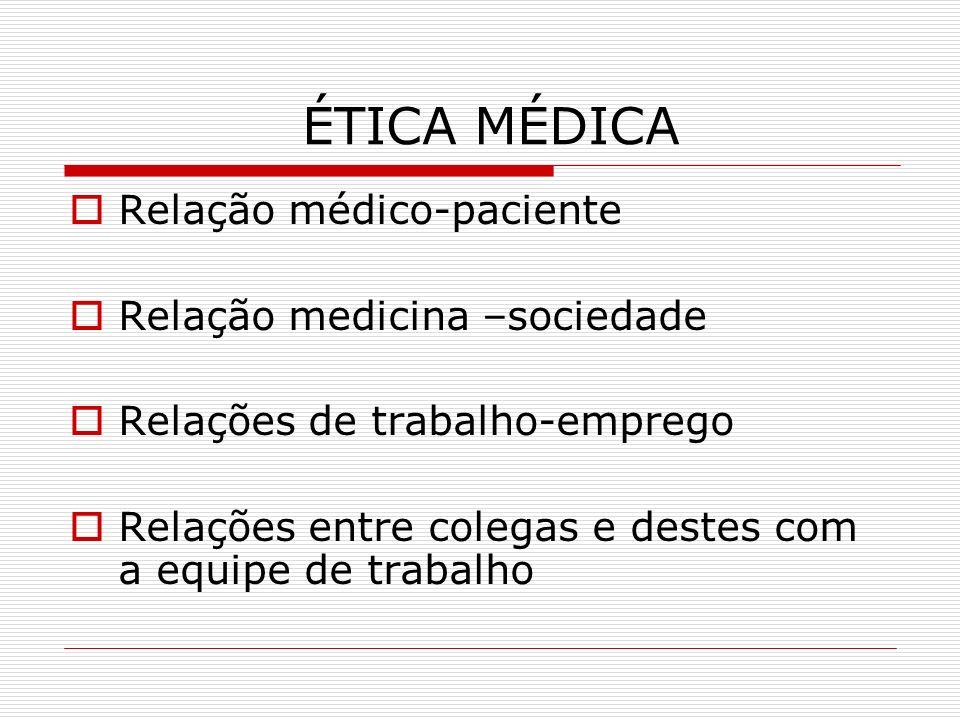ÉTICA MÉDICA Relação médico-paciente Relação medicina –sociedade Relações de trabalho-emprego Relações entre colegas e destes com a equipe de trabalho