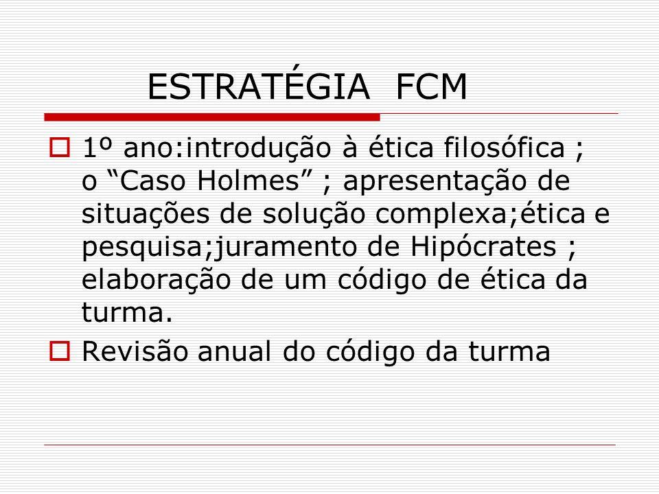 ESTRATÉGIA FCM 1º ano:introdução à ética filosófica ; o Caso Holmes ; apresentação de situações de solução complexa;ética e pesquisa;juramento de Hipó