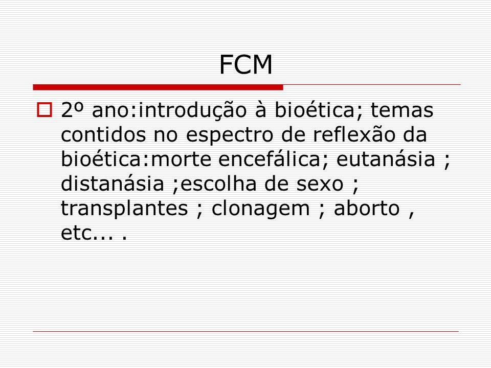 FCM 2º ano:introdução à bioética; temas contidos no espectro de reflexão da bioética:morte encefálica; eutanásia ; distanásia ;escolha de sexo ; trans