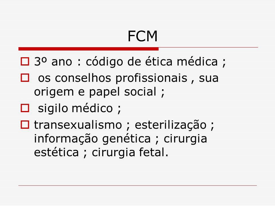 FCM 3º ano : código de ética médica ; os conselhos profissionais, sua origem e papel social ; sigilo médico ; transexualismo ; esterilização ; informa