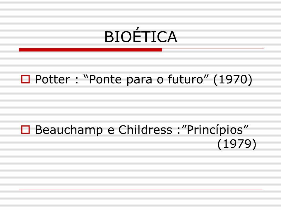 BIOÉTICA Potter : Ponte para o futuro (1970) Beauchamp e Childress :Princípios (1979)