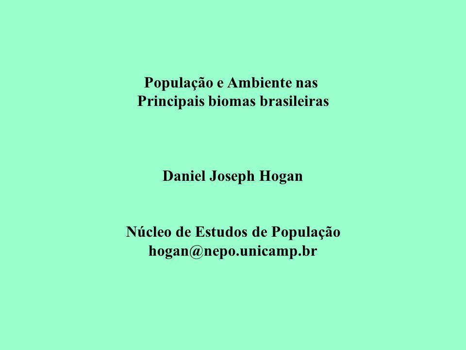 População e Ambiente nas Principais biomas brasileiras Daniel Joseph Hogan Núcleo de Estudos de População hogan@nepo.unicamp.br