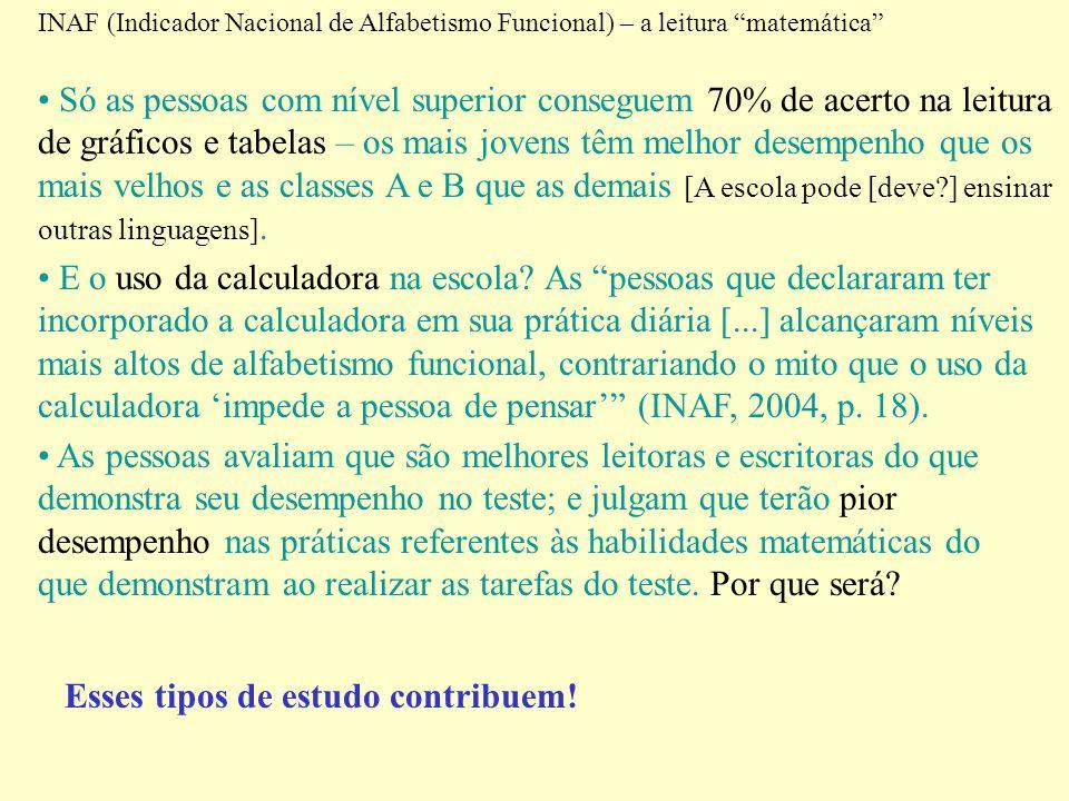 INAF (Indicador Nacional de Alfabetismo Funcional) – a leitura matemática Só as pessoas com nível superior conseguem 70% de acerto na leitura de gráfi