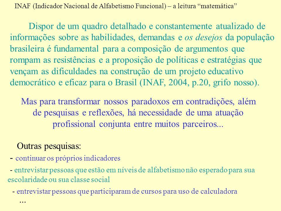 INAF (Indicador Nacional de Alfabetismo Funcional) – a leitura matemática Dispor de um quadro detalhado e constantemente atualizado de informações sob