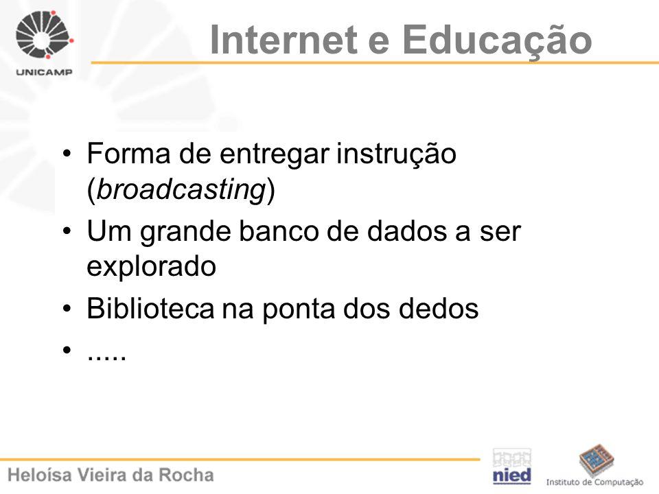 Internet e Educação Forma de entregar instrução (broadcasting) Um grande banco de dados a ser explorado Biblioteca na ponta dos dedos.....
