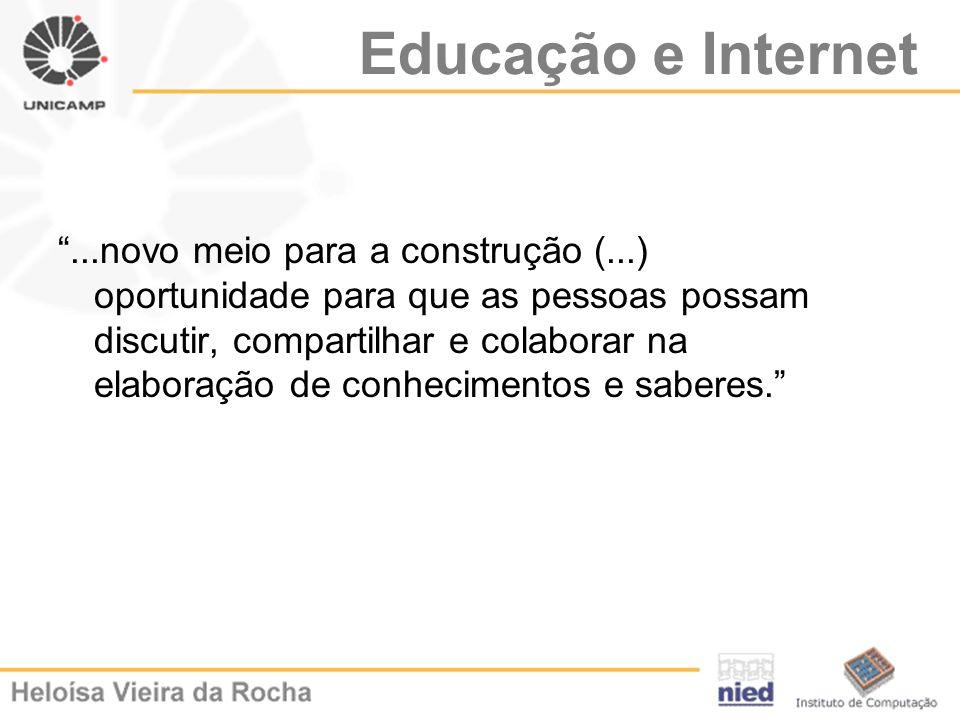 Educação e Internet...novo meio para a construção (...) oportunidade para que as pessoas possam discutir, compartilhar e colaborar na elaboração de co
