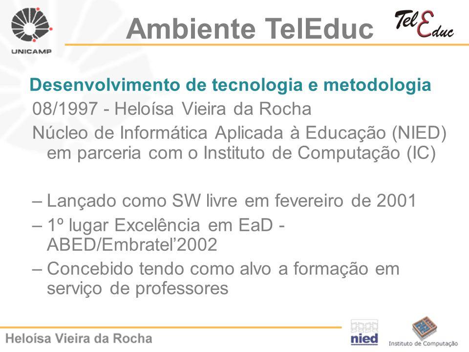 Desenvolvimento de tecnologia e metodologia 08/1997 - Heloísa Vieira da Rocha Núcleo de Informática Aplicada à Educação (NIED) em parceria com o Insti