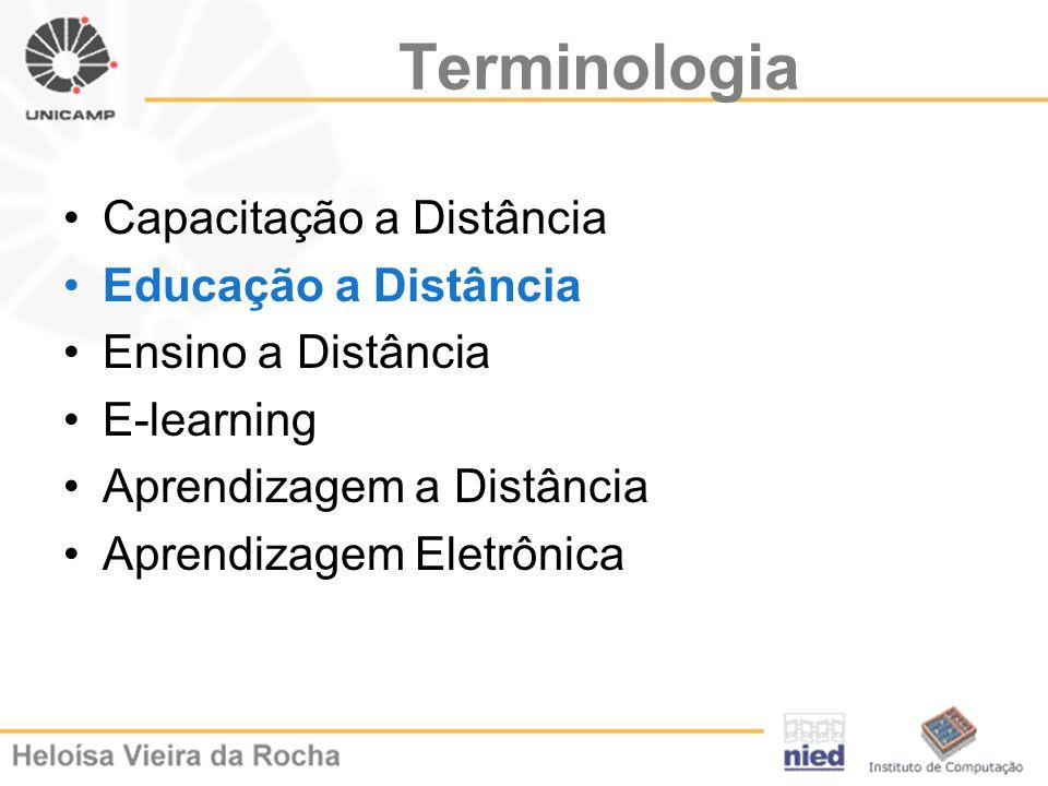 Terminologia Capacitação a Distância Educação a Distância Ensino a Distância E-learning Aprendizagem a Distância Aprendizagem Eletrônica