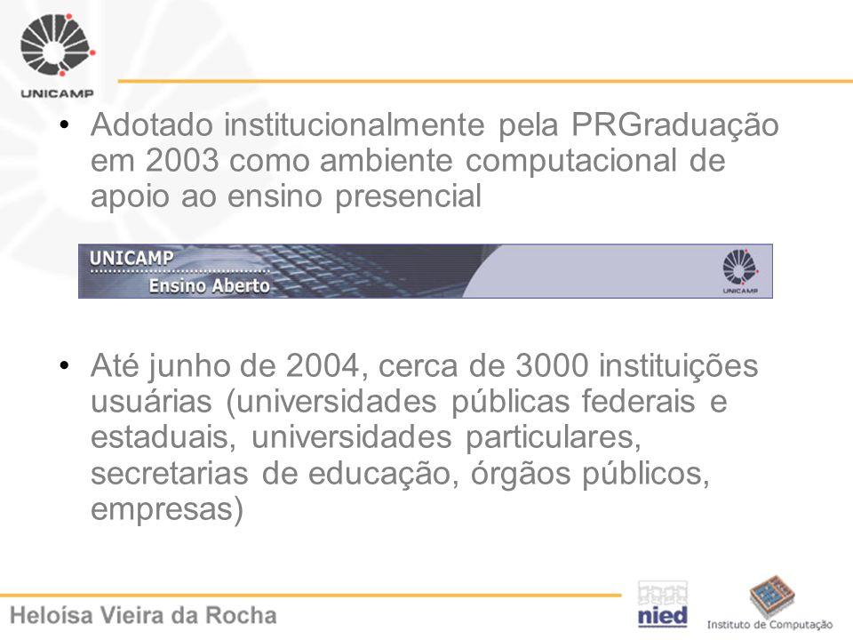 Adotado institucionalmente pela PRGraduação em 2003 como ambiente computacional de apoio ao ensino presencial Até junho de 2004, cerca de 3000 institu