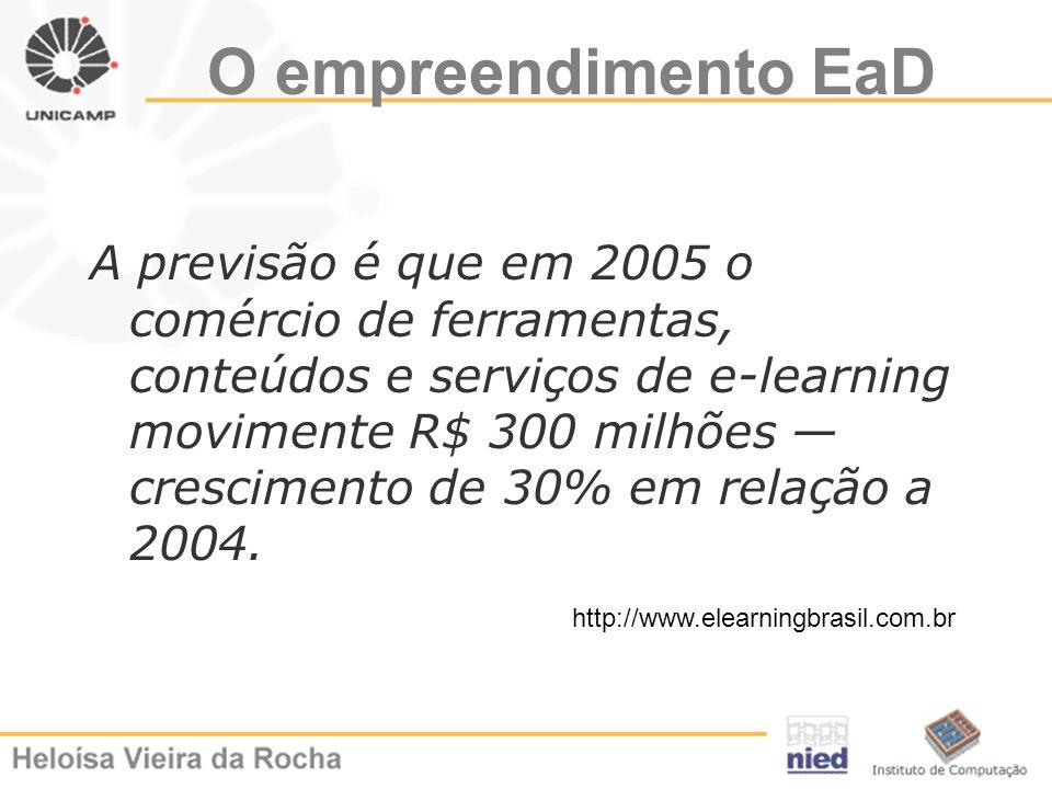 O empreendimento EaD A previsão é que em 2005 o comércio de ferramentas, conteúdos e serviços de e-learning movimente R$ 300 milhões crescimento de 30